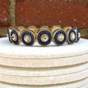 Jewelry - Navy blue, gold and clear cz stretch bracelet
